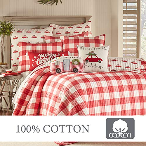 Levtex Home Road Trip Quilt Set FullQueen Quilt Two Standard Pillow Shams Festive Farmhouse Buffalo Check Red And White Quilt Size 88x92in And Pillow Sham Size 26x20in Reversible 0 4
