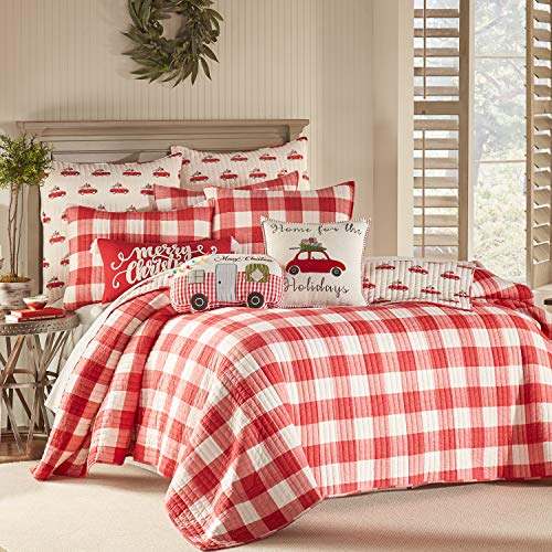 Levtex Home Road Trip Quilt Set FullQueen Quilt Two Standard Pillow Shams Festive Farmhouse Buffalo Check Red And White Quilt Size 88x92in And Pillow Sham Size 26x20in Reversible 0