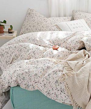 Lianai Floral Printed Cotton Garden Bedding Set Twin Size Flower Farmhouse Duvet Covet Sets 2 Pcs 1 Duvet Cover 1 Pillowcases 0 300x360