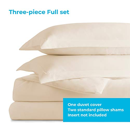 Linenspa Microfiber Duvet Cover Three Piece Set Includes Duvet Cover And Two Shams Soft Brushed Microfiber Hypoallergenic Cream Full 0 0