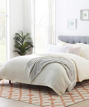 Linenspa Microfiber Duvet Cover Three Piece Set Includes Duvet Cover And Two Shams Soft Brushed Microfiber Hypoallergenic Cream Full 0 300x360