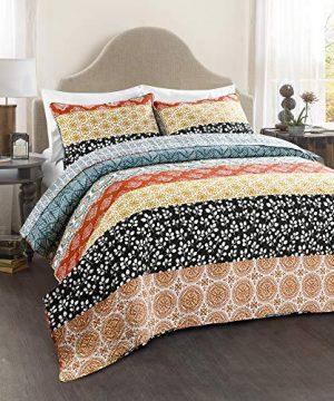 Lush Decor Bohemian Striped Quilt Reversible 3 Piece Bedding Set King Turquoise 0 0 300x360