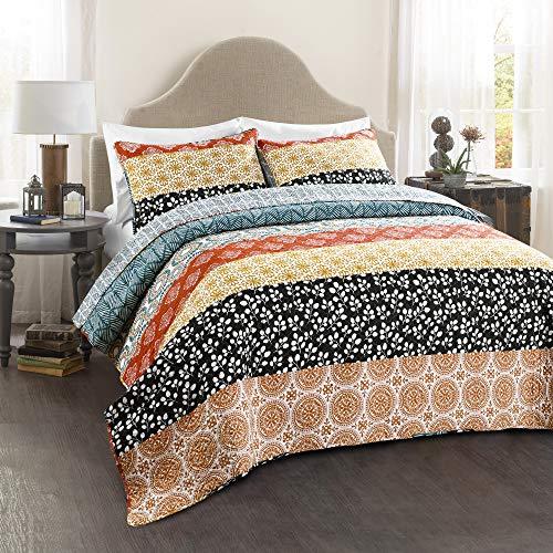 Lush Decor Bohemian Striped Quilt Reversible 3 Piece Bedding Set King Turquoise 0 0