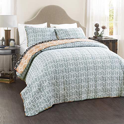 Lush Decor Bohemian Striped Quilt Reversible 3 Piece Bedding Set King Turquoise 0 1