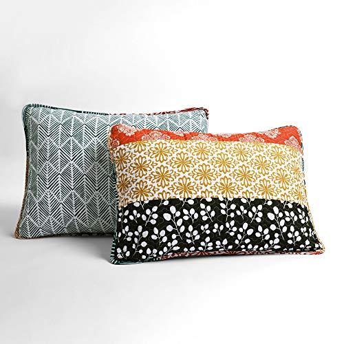 Lush Decor Bohemian Striped Quilt Reversible 3 Piece Bedding Set King Turquoise 0 2