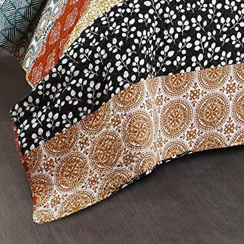 Lush Decor Bohemian Striped Quilt Reversible 3 Piece Bedding Set King Turquoise 0 4