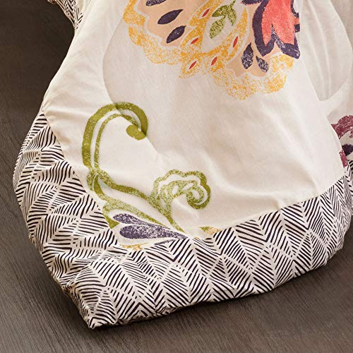 Lush Decor Coral And Navy Aster Comforter Set Flower Pattern Reversible 5 Piece Bedding King 0 2