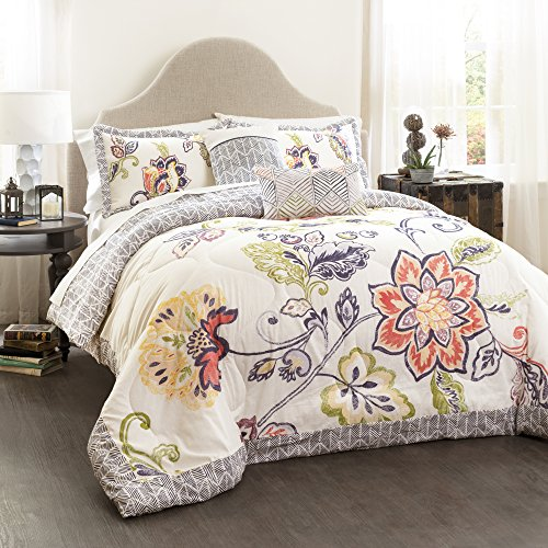 Lush Decor Coral And Navy Aster Comforter Set Flower Pattern Reversible 5 Piece Bedding King 0