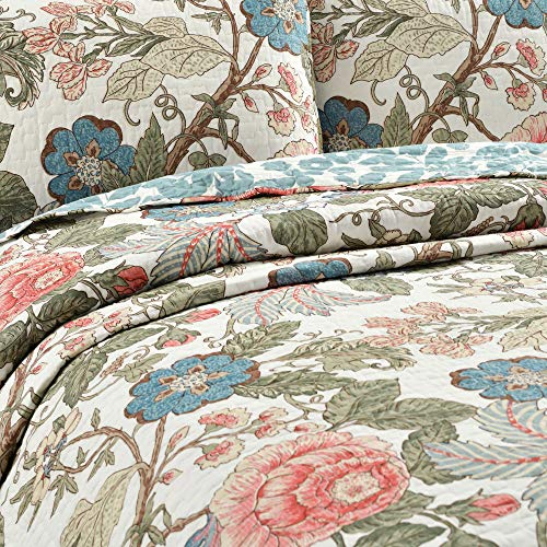 Lush Decor Floral Leaf Sydney 3 Piece Quilt Set Reversible Bedding FullQueen 0 0
