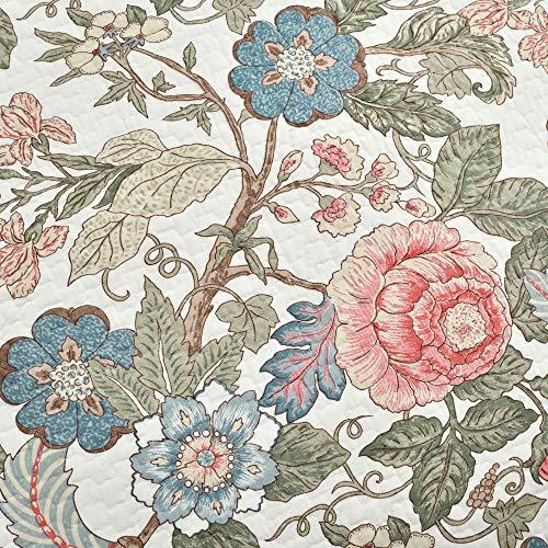 Lush Decor Floral Leaf Sydney 3 Piece Quilt Set Reversible Bedding FullQueen 0 1