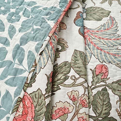 Lush Decor Floral Leaf Sydney 3 Piece Quilt Set Reversible Bedding FullQueen 0 2