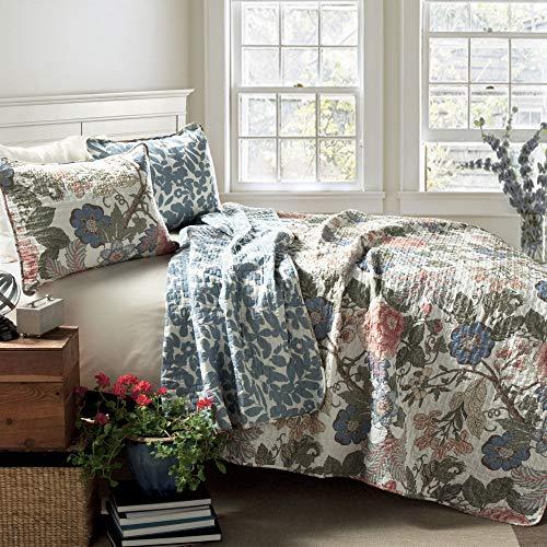 Lush Decor Floral Leaf Sydney 3 Piece Quilt Set Reversible Bedding FullQueen 0