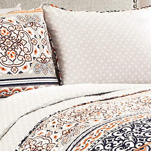 Lush Decor Nesco Quilt Striped Pattern Reversible 3 Piece Bedding Set King Navy And Coral 0 0