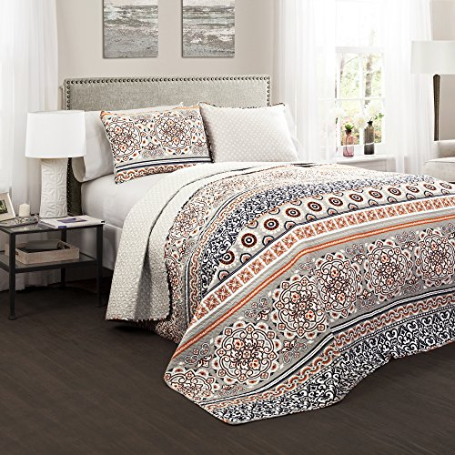 Lush Decor Nesco Quilt Striped Pattern Reversible 3 Piece Bedding Set King Navy And Coral 0