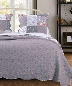 MISC 3 Piece Gray Patchwork Quilt FullQueen Size Set Farmhouse Theme Floral Plaid Square Checks Pattern Bedding Oversized And Reversible To Flowers Print 0 0 300x360