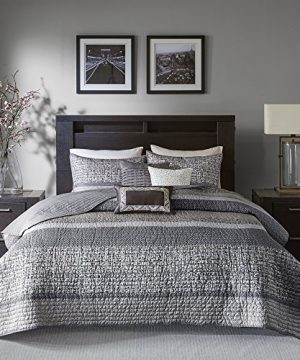 Madison Park Rhapsody FullQueen Size Quilt Bedding Set Grey Striped 6 Piece Bedding Quilt Coverlets Ultra Soft Microfiber Bed Quilts Quilted Coverlet 0 300x360