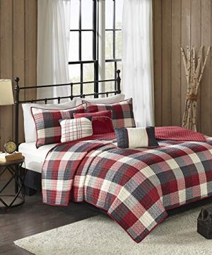 Madison Park Ridge FullQueen Size Quilt Bedding Set Red Plaid 6 Piece Bedding Quilt Coverlets Ultra Soft Microfiber Bed Quilts Quilted Coverlet 0 0 300x360