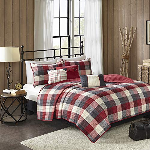 Madison Park Ridge FullQueen Size Quilt Bedding Set Red Plaid 6 Piece Bedding Quilt Coverlets Ultra Soft Microfiber Bed Quilts Quilted Coverlet 0 0