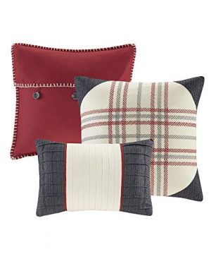 Madison Park Ridge FullQueen Size Quilt Bedding Set Red Plaid 6 Piece Bedding Quilt Coverlets Ultra Soft Microfiber Bed Quilts Quilted Coverlet 0 1 300x360