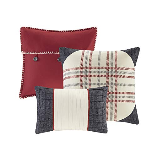 Madison Park Ridge FullQueen Size Quilt Bedding Set Red Plaid 6 Piece Bedding Quilt Coverlets Ultra Soft Microfiber Bed Quilts Quilted Coverlet 0 1