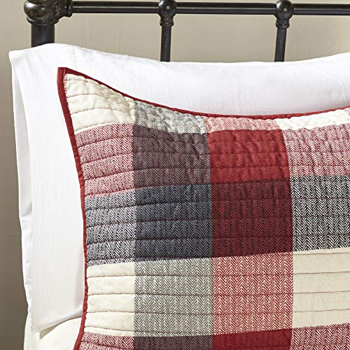 Madison Park Ridge FullQueen Size Quilt Bedding Set Red Plaid 6 Piece Bedding Quilt Coverlets Ultra Soft Microfiber Bed Quilts Quilted Coverlet 0 2
