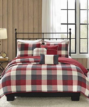 Madison Park Ridge FullQueen Size Quilt Bedding Set Red Plaid 6 Piece Bedding Quilt Coverlets Ultra Soft Microfiber Bed Quilts Quilted Coverlet 0 300x360