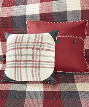 Madison Park Ridge FullQueen Size Quilt Bedding Set Red Plaid 6 Piece Bedding Quilt Coverlets Ultra Soft Microfiber Bed Quilts Quilted Coverlet 0 5 300x360