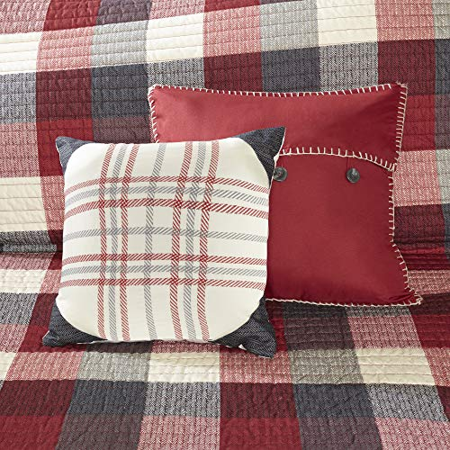 Madison Park Ridge FullQueen Size Quilt Bedding Set Red Plaid 6 Piece Bedding Quilt Coverlets Ultra Soft Microfiber Bed Quilts Quilted Coverlet 0 5