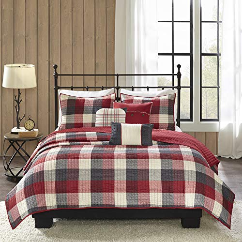Madison Park Ridge FullQueen Size Quilt Bedding Set Red Plaid 6 Piece Bedding Quilt Coverlets Ultra Soft Microfiber Bed Quilts Quilted Coverlet 0