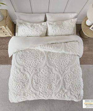 Madison Park Viola 3 Piece Tufted Cotton Chenille Duvet Cover Set FullQueen90x90 Damask White 0 300x360