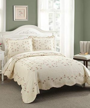 Modern Heirloom Collection Felisa Quilt Set Full Queen Pink 0 300x360