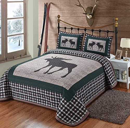 Moose Plaid Quilt 3 Pieces King Quilt Set Quilt With 2 Pillow Shams Rustic Lodge Cabin Mountain Style Bedding 0