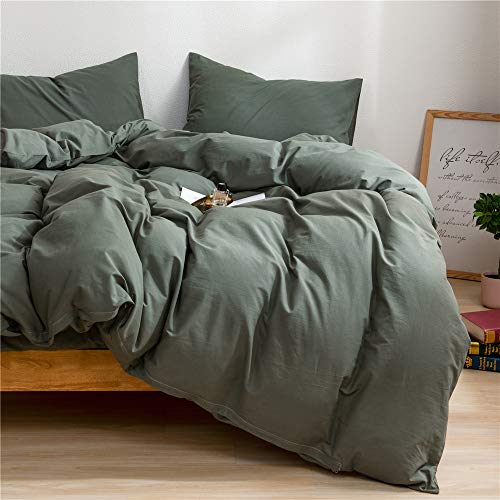 Mucalis Army Green Duvet Cover Queen 100 Natural Washed Cotton Duvet Cover Set Full 3pc Solid Modern Farmhouse Bedding Duvet Cover Set With Zipper Closure Corner TiesSoft No Inside Filler 0 0