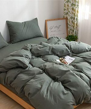 Mucalis Army Green Duvet Cover Queen 100 Natural Washed Cotton Duvet Cover Set Full 3pc Solid Modern Farmhouse Bedding Duvet Cover Set With Zipper Closure Corner TiesSoft No Inside Filler 0 1 300x360