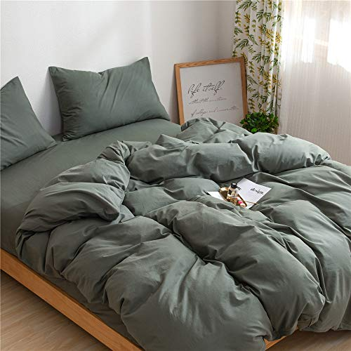 Mucalis Army Green Duvet Cover Queen 100 Natural Washed Cotton Duvet Cover Set Full 3pc Solid Modern Farmhouse Bedding Duvet Cover Set With Zipper Closure Corner TiesSoft No Inside Filler 0 1