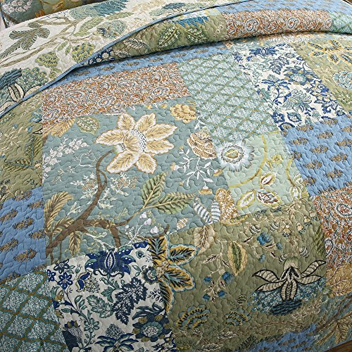 NEWLAKE Bedspread Quilt Set With Real Stitched Embroidery Bohemian Floral PatternKing Size 0 0