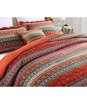 NEWLAKE Striped Classical Cotton 3 Piece Patchwork Bedspread Quilt Sets King Size 0 0 300x360