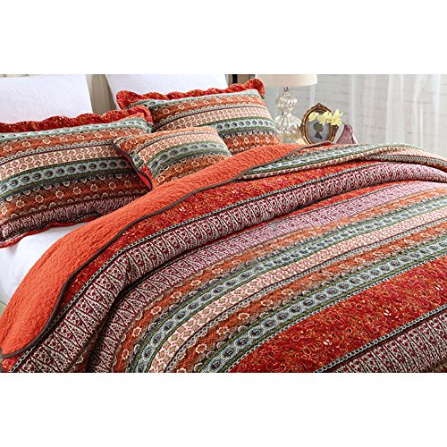 NEWLAKE Striped Classical Cotton 3 Piece Patchwork Bedspread Quilt Sets King Size 0 0