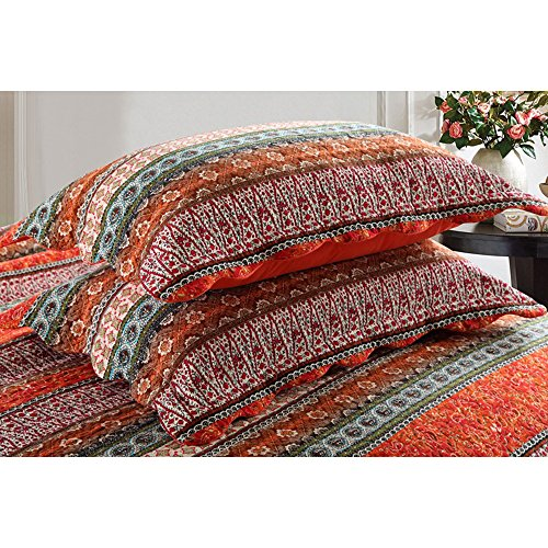NEWLAKE Striped Classical Cotton 3 Piece Patchwork Bedspread Quilt Sets King Size 0 2
