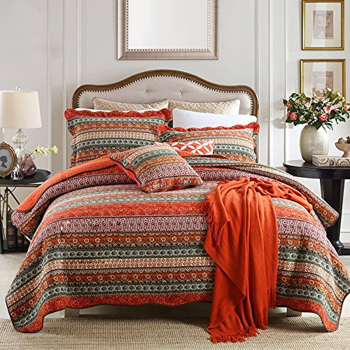 NEWLAKE Striped Classical Cotton 3 Piece Patchwork Bedspread Quilt Sets King Size 0