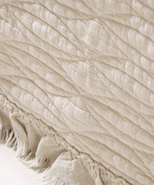 NIUDECOR 2 Piece Quilt Set Cotton Reversible Stone Washed Coverlet Set With Ruffle 1 Quilt And 1 Pillow Sham Taupe Twin 0 300x360