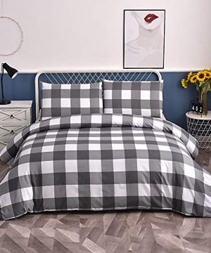 Ntyaxin Home Duvet Cover Set 2 Piece Grey White Buffalo Plaid 1 Duvet Cover 1 Pillowcase Grid Comforter Cover Ultra Soft Microfiber Bed Quilt Cover Zipper Plaid Gray 1 Twin 66x90 Inches 0 300x360