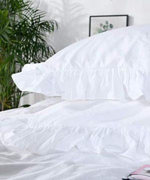 Queens House 3 Pieces Duvet Cover Set Washed Cotton White Ruffled Duvet Quilt Cover With Zipper Bedding Set Twin Size Shabby RuffleWhite 0 1 300x360