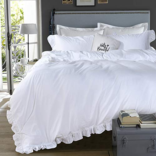 Queens House 3 Pieces Duvet Cover Set Washed Cotton White Ruffled Duvet Quilt Cover With Zipper Bedding Set Twin Size Shabby RuffleWhite 0