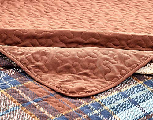 River Fly Fishing Themed Rustic Cabin Lodge Quilt Stitched Bedspread Bedding Set With Fishing Rods Lure With Southwestern Tartan Check Plaid Tweed Patterns Blue Brown River Lodge Twin 0 0