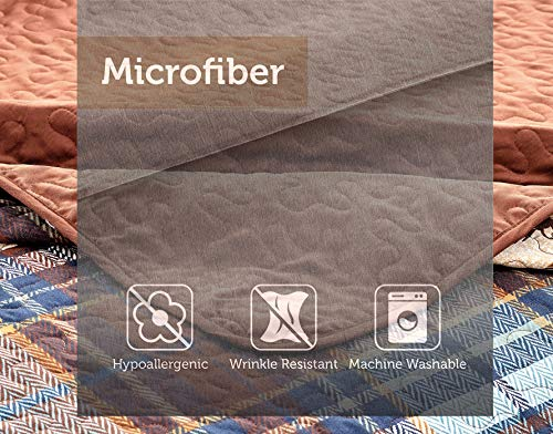 River Fly Fishing Themed Rustic Cabin Lodge Quilt Stitched Bedspread Bedding Set With Fishing Rods Lure With Southwestern Tartan Check Plaid Tweed Patterns Blue Brown River Lodge Twin 0 1