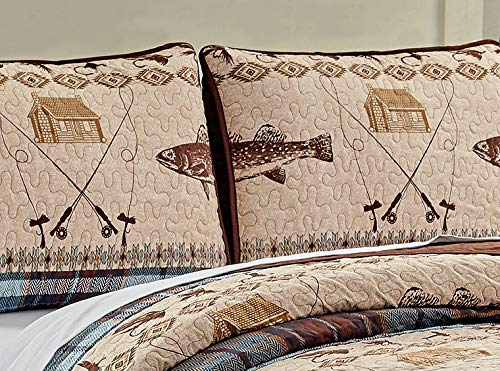 River Fly Fishing Themed Rustic Cabin Lodge Quilt Stitched Bedspread Bedding Set With Fishing Rods Lure With Southwestern Tartan Check Plaid Tweed Patterns Blue Brown River Lodge Twin 0