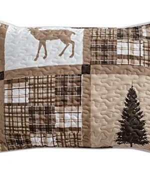 Rustic Modern Farmhouse Cabin Lodge Quilted Bedspread Coverlet Bedding Set With Patchwork Of Wildlife Grizzly Bears Deer Buck And Plaid Check Patterns In Taupe Brown Western 1 FullQueen 0 2 300x360