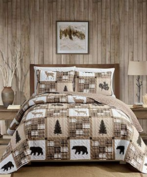 Rustic Modern Farmhouse Cabin Lodge Quilted Bedspread Coverlet Bedding Set With Patchwork Of Wildlife Grizzly Bears Deer Buck And Plaid Check Patterns In Taupe Brown Western 1 FullQueen 0 300x360