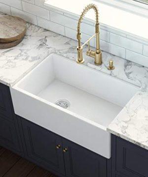 Ruvati 30 Inch Fireclay Farmhouse Offset Drain Kitchen Sink Single Bowl White Left Drain RVL2018WL 0 300x360